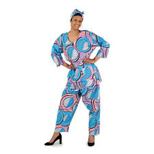 Women African Print Turquoise Design Pant Set w/Head scarf. Free Size.