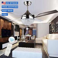 """44"""" Stainless Steel Crystal Ceiling Fan Light LED Pendant Lamp US seller"""