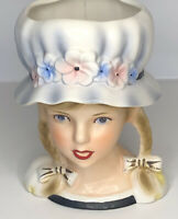 Relpo Vintage Head Vase K1839 Teen Girl Braids Hat With Flowers Open Mouth Smile
