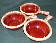 SET of 3 Vintage HULL POTTERY Brown Drip Glaze SOUP BOWLS Handle Oven Proof USA