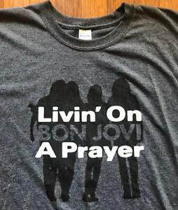BON JOVI Livin' On A Prayer Dark Heather T Shirt Size 3XL Gildan Softstyle XXXL