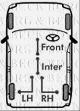 BKB3497 BORG & BECK BRAKE CABLE - INTER fits GM Vivaro, Trafic LWB 11-