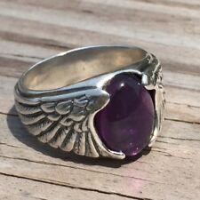 Eagle Wing Ring Sterling Silver Sz 10 w/ Genuine Natural Amethyst Gemstone