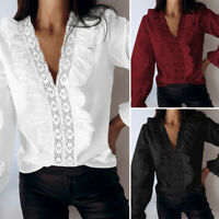 Women Ruffle Frill Top Lace V Neck Long Sleeve Blouse Plus Size Victorian Shirts