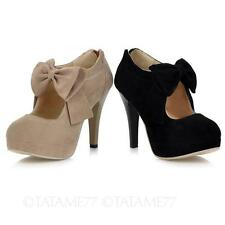 TATA Womens Elegant Suede platform bow high heel Shoes Size 3 4 5 6 7 8 9 10 11