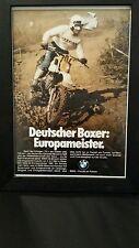 "BMW Framed Advertisement ""Deutscher Boxer: Europameister."" Bike Freude am Fahren"