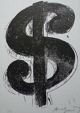 Limited POP ART edition silkscreen serigraph, Dollar, signed Andy Warhol w DOCS