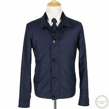 NWOT Zegna Blue Wool Leather Trim Pique Glossy Blouson Jacket 44R