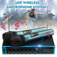 Dual UHF Wireless Microphone System 2 Channel Cordless DJ Karaoke Mic  *