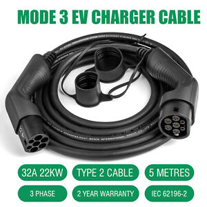 EV Charging Cable Electric Car Plug Charger Cord 3 Phase Type 2 To Type 2 22KW