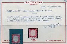 Regno D'Italia 1862 Prima Serie Dentellata 40 c. rosso Raybaudi Cat. Bolaffi 63
