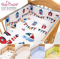6 Piece Baby Toddler Cot CotBed Bedding Set Regular Safety Bumper + Cotton Sheet