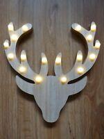 Straits LED Light Up Wooden Hanging Reindeer Head Christmas Decoration 25cm