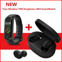 For Xiom MI Redmi TWS Airdots Headset Bluetooth Earphone M4 Band Smart Watch Kit
