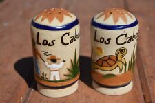 Los Cabos Mexico Handpainted Salt & Pepper Shakers - Turtle & Fishermen