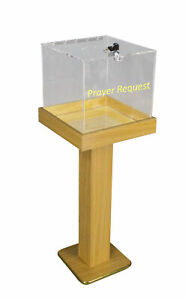 Wood Acrylic Large Floor Standing Tithing Box Offering Box Ballot Building Fund