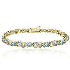 6.6 CARAT Blue Topaz & Diamond Accent Infinity Bracelet in Gold Tone