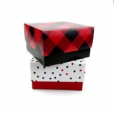 Christmas Gift Box 2-Count 5 inch x 5 inch x 3 inch, Red Black Plaid, Polka Dots