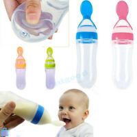 Baby Silicone Squeeze Feeding Bottle With Spoon Food Rice Cereal Feeder 90ML