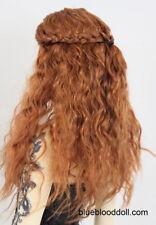 "1/3 bjd 8-9"" doll head orange brown braid curly long wig dollfie Luts Iplehouse"