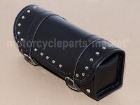 Black PU Leather Motorcycle Tool Bag Fork Handlebar Saddlebag Studded Barrel New