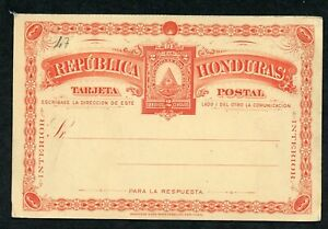 HONDURAS UPU 1890 HG 7 MINT 2C REPLY HALF CARD RED ON YELLOW AS SHOWN