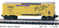 K-LINE 7511 FRISCO, 7516 BN & 7517 MKT CLASSIC REEFER CARS 1993-1995 NEW IN BOX