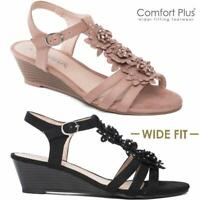 LADIES WEDGE SANDALS WOMENS WIDE FIT SUMMER DRESS HEELS PARTY STRAPPY SHOES SIZE