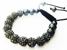 USA Bracelet using Swarovski Crystal Ball Handmade Sizable Gray beads Shamballa