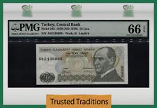 TT PK 192 1970 TURKEY 10 LIRA PMG 66 EPQ GEM UNCIRCULATED POP FOUR NONE FINER!