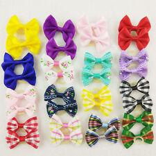 20pcs Wholesale Multicolor Mix Check Flowers Pet Dog Hair Bow Rubber Bands