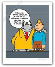 Affiche Sérigraphie Philippe Geluck Le Chat Lucky Luke Tintin 400ex signé 40x50