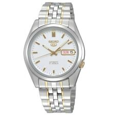 Seiko 5 Classic Mens Size White Dial 2 tone Gold Plated Stainless Steel Watch