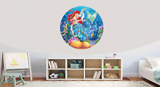 Ariel Mermaid Self Adhesive Gloss Sealed Graphic Round Wall Decal Sticker