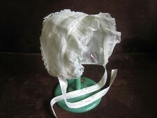 Vintage Antique Baby Doll Dress Piece Early Century Cap HAT Chiffon Crepe Lace