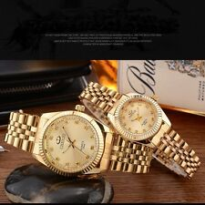 Most Popular Waterproof Men`s & Women`s Yellow Gold Crystal Quartz Wrist Watches