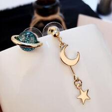 Korean Long Blue Crystal Planet Earrings Moon Star Drop Dangle Women Jewelry