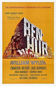 Old Vintage Movie Film Poster Ben Hur Charlton Heston, HD Print or Canvas