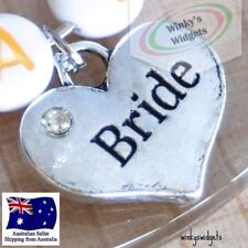 10 x silver Wedding hearts with diamantes - charm pendant bride groom engagement