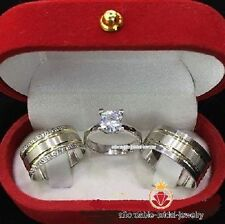 14K White Gold 2.50 CT Diamond Engagement Ring Wedding Trio Set For His & Her