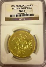 Mongolia 1976 Gold Coin 750 Tugrik Przewalski Horses VERY RARE Mint-929 NGC MS64