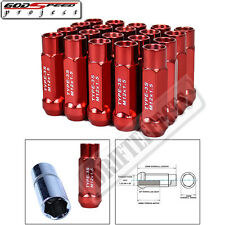 GODSPEED T-3X WHEEL RIM STEEL LUG NUTS 50mm 20 PC M12 X 1.5 OPEN END JDM RED GSP