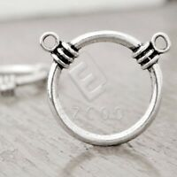 50pcs Tibetan Silver Charm Pendant Connector Links Jewelry Findings Ring 25x13x4