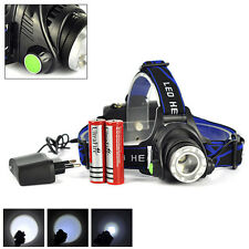 ZOOM 10000LM CREE XM-L T6 LED Headlamp Headlight+2PCS Charger+2PCS Battery