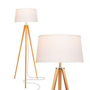 "Brightech Emma Modern Home 60"" Tall Standing LED Light Tripod Floor Lamp, Wood"