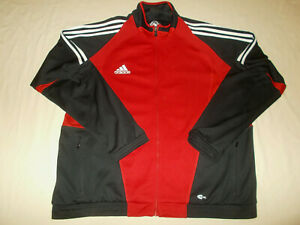 ADIDAS CLIMACOOL FULL ZIP RED & BLACK ATHLETIC SOCCER JACKET MENS LARGE EXCELL