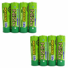 8 pcs 2500mWh 1.6V Volt AA 2A NiZn Rechargeable Battery Cell PowerGenix US Stock