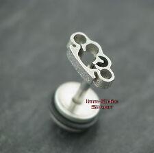 Fake Piercing Stahl Motiv SCHLAGRING Ohrring Ohrstecker Plug Ohrschmuck