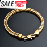 18k Königskette Armkette 8MM dick Armband für Herren Damen Männer vergoldet GA7
