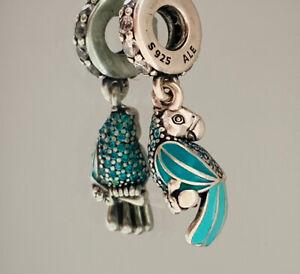 Genuine Pandora Bracelet Charm - Teal Tropical Parrot charm 791903ENMX  #1/10